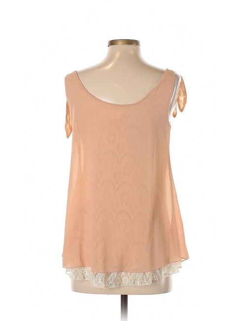 Anthropologie Lace Chiffon Heart Tank Blouse Top Pink Image 1