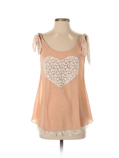 Anthropologie Lace Chiffon Heart Tank Blouse Top Pink Image 2