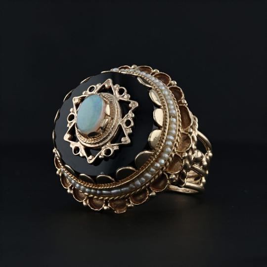Other Victorian Style Opal Glass Pearl Ring - 14k Size 8 Tiered Cocktail Image 1