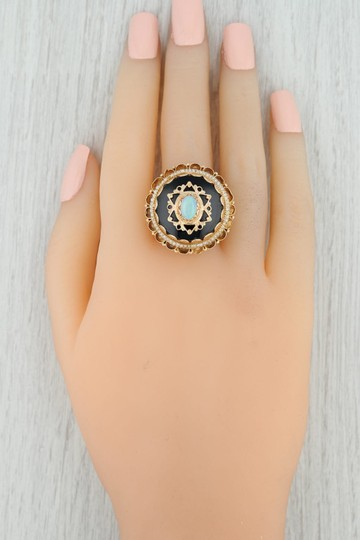 Other Victorian Style Opal Glass Pearl Ring - 14k Size 8 Tiered Cocktail Image 10