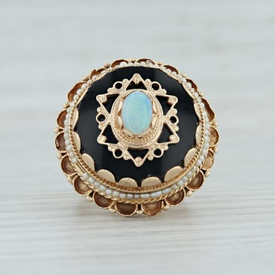 Other Victorian Style Opal Glass Pearl Ring - 14k Size 8 Tiered Cocktail Image 2