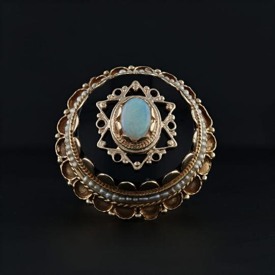Other Victorian Style Opal Glass Pearl Ring - 14k Size 8 Tiered Cocktail Image 3