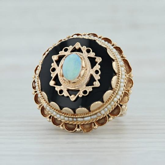 Other Victorian Style Opal Glass Pearl Ring - 14k Size 8 Tiered Cocktail Image 4