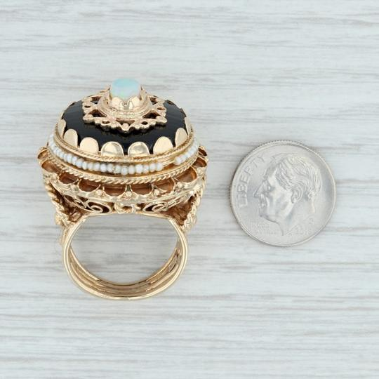Other Victorian Style Opal Glass Pearl Ring - 14k Size 8 Tiered Cocktail Image 9