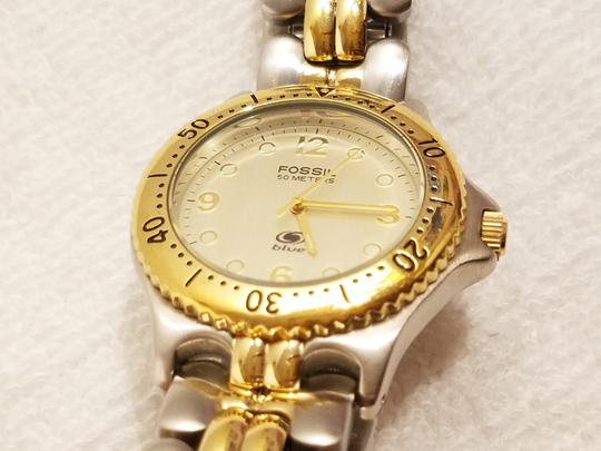 Fossil Fossil Gold Tone Watch Luminous Hands Rotating Bezel Image 1