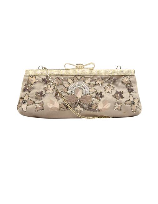 Item - Beaded with Crystal Encrusted Bow & Chain Strap Sand Satin Clutch