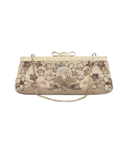 Valentino Crystal Beaded Satin Evening Bow Sand Clutch Image 3