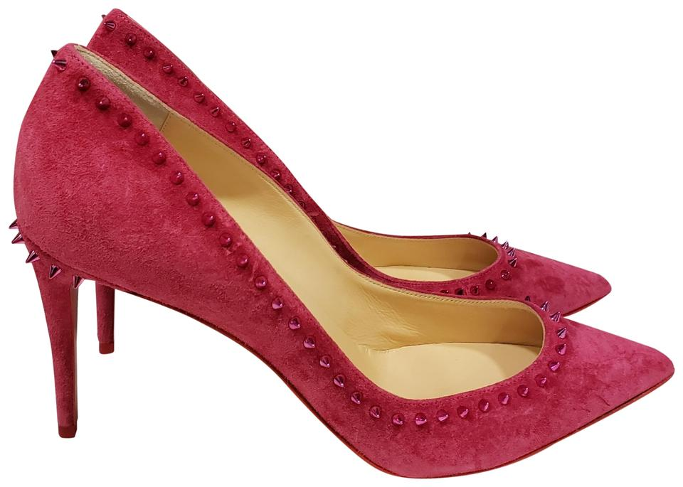 0beac70a20f Christian Louboutin Fuxia Pink Anjalina 85 Spiked Studded Suede Pumps Size  EU 40 (Approx. US 10) Regular (M, B) 27% off retail