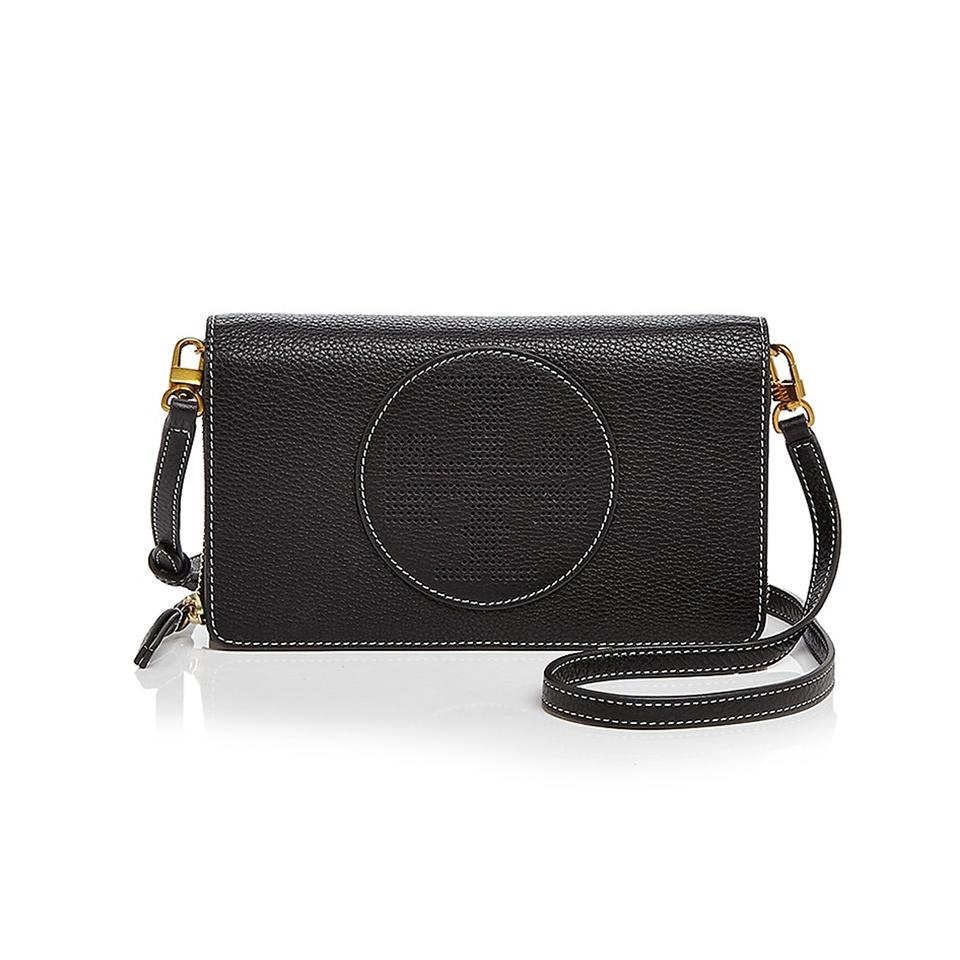 ea5be231198f Tory Burch Perforated Logo Flat Wallet Black Leather Cross Body Bag ...