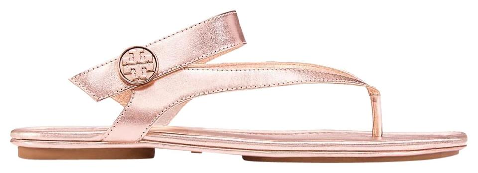 602a38da5c04 Tory Burch Pink Minnie Travel Thong Metallic Rose Gold Leather Sandals