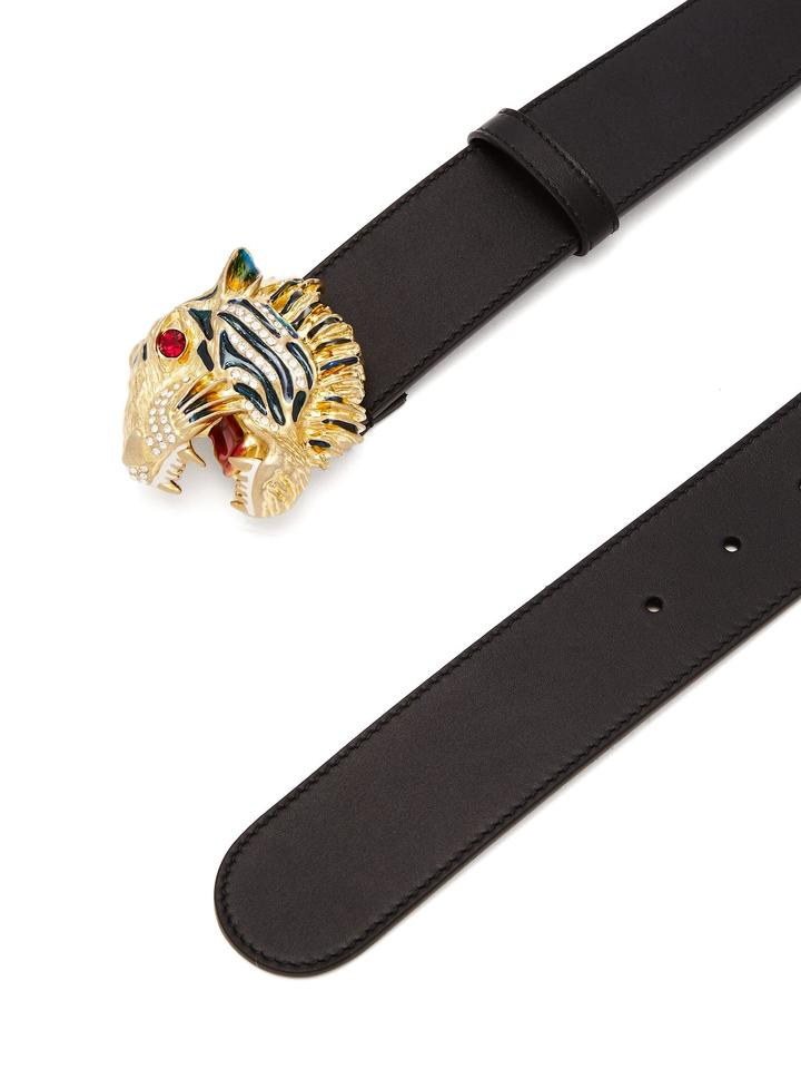 84c01e5e98d Gucci NEW GUCCI men black leather belt with crystal lion head buckle -95-38.  12345678