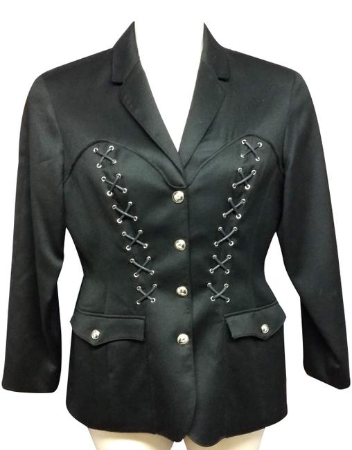 Item - Black Made In France Lace Up Detail Wool Jacket 42 Blazer Size 8 (M)