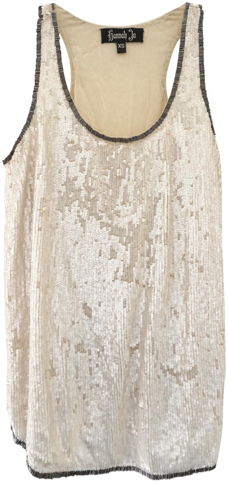 ed43085332f39 Ivory Sequin Sleeveless Evening Cocktail Party Tank Top Cami Size 2 ...