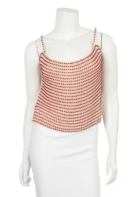 Item - Beige Woven Embellished 46 Tank Top/Cami Size 6 (S)