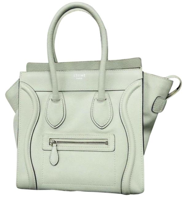 Item - Luggage Calfskin Micro Shopper Light Grey Leather Tote