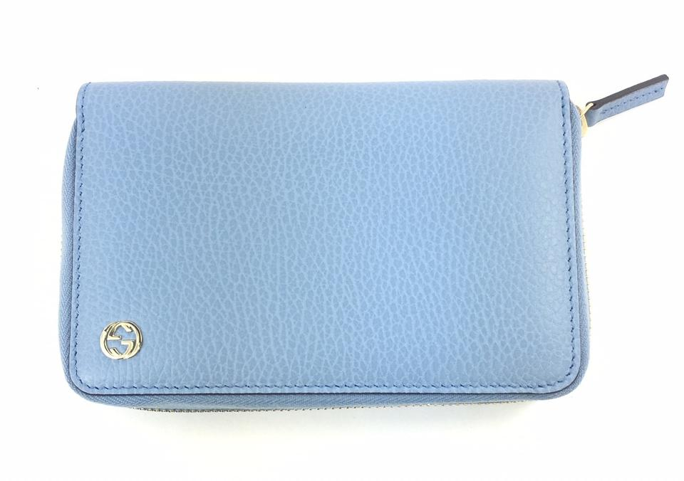 1d553813f6af52 Gucci Periwinkle Blue #464884 Gg Logo Leather Zip Around Wallet ...