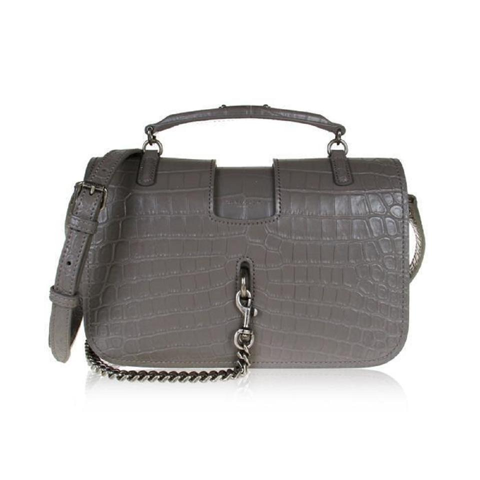 ed5d506bc4 Saint Laurent Charlotte Ysl Crocodile Handbag 486638 Gray Leather Cross  Body Bag 10% off retail