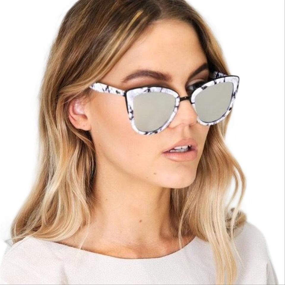 add1e0b900 Quay White Marble Cat Eye Mirror Lenses Sunglasses - Tradesy
