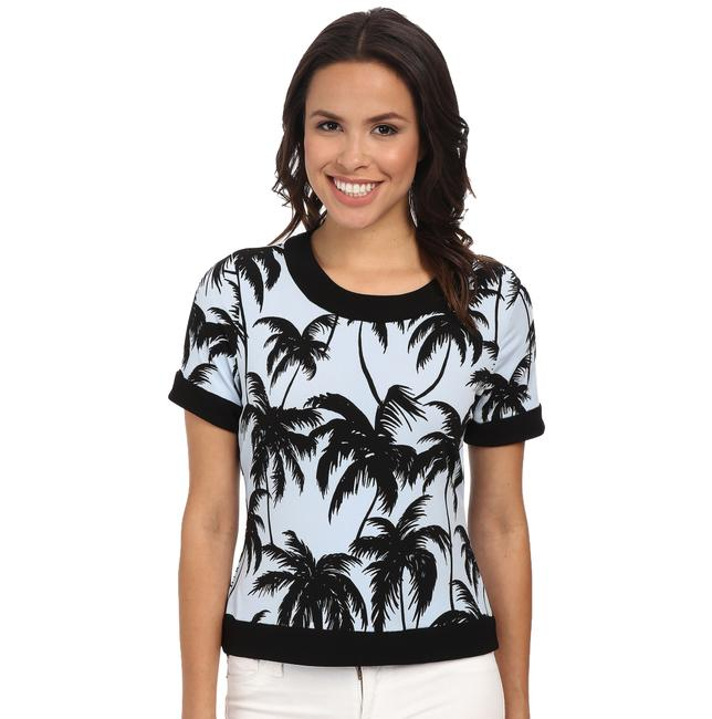 Vince Camuto Oasis Palm Printed Top Ultra White (Light Blue)