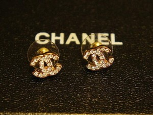 Chanel Gold Cc Logo Plated Earrings