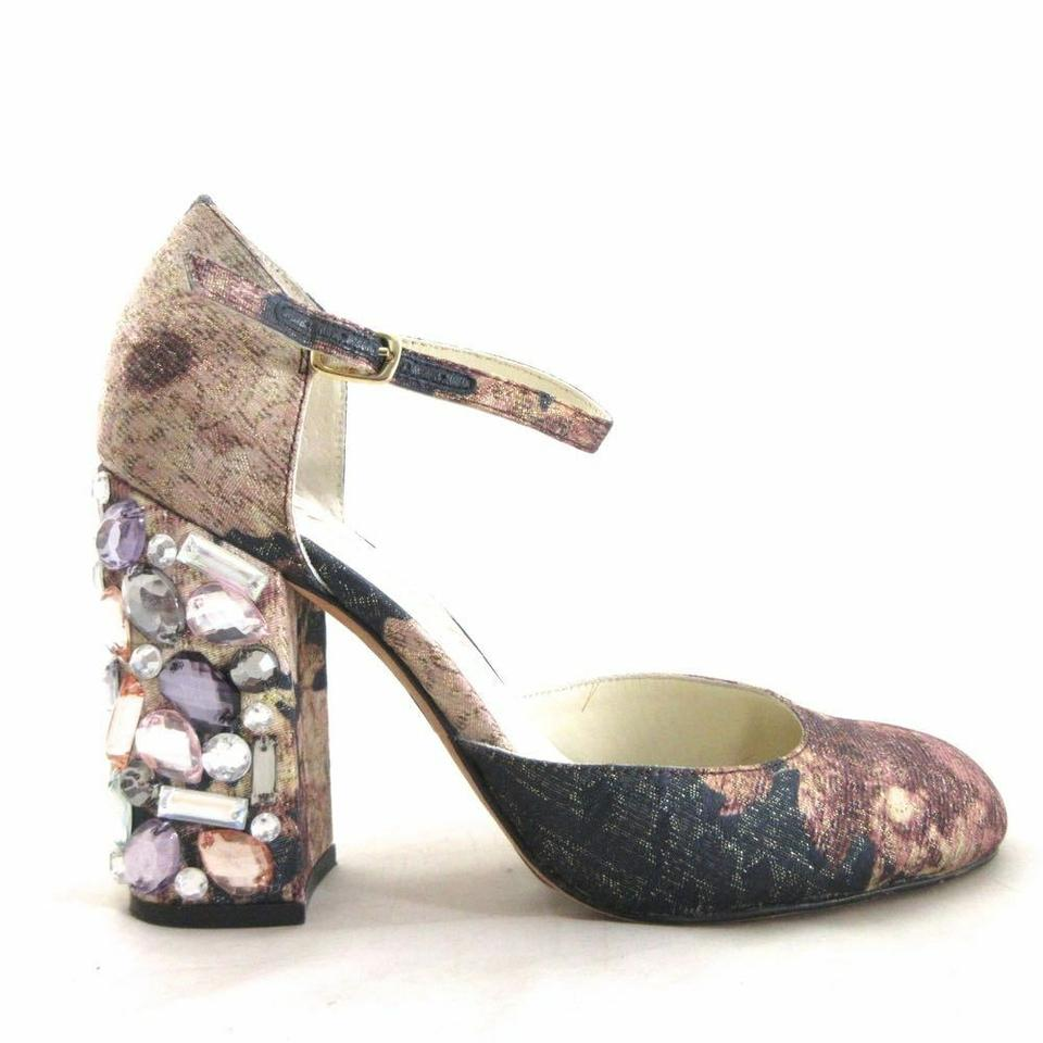 6fb182368 Bettye Muller Anthropology Bedazzeled Floral Ankle Strap Sparkle multicolor  Pumps Image 0 ...
