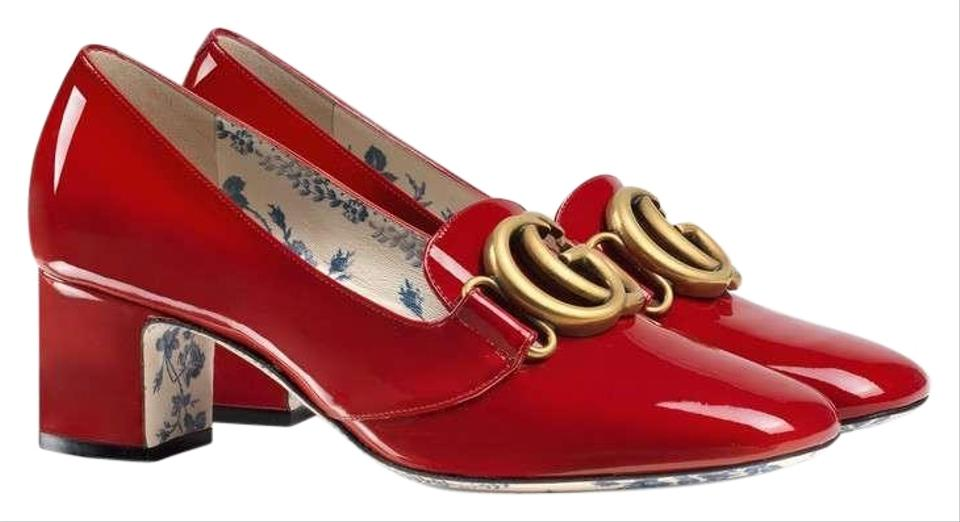 d23d50dd080 Gucci Red Patent Leather Mid-heel with Double G Pumps Size EU 41 ...