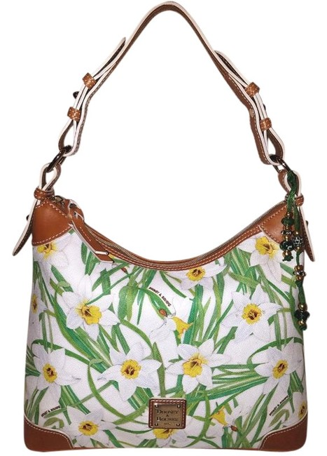 Item - Handbag Floral Print with A Zippe Closure White and Green Leather Hobo Bag