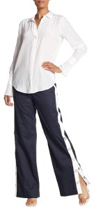 Equipment White Snap On Wide Leg Pants Navy