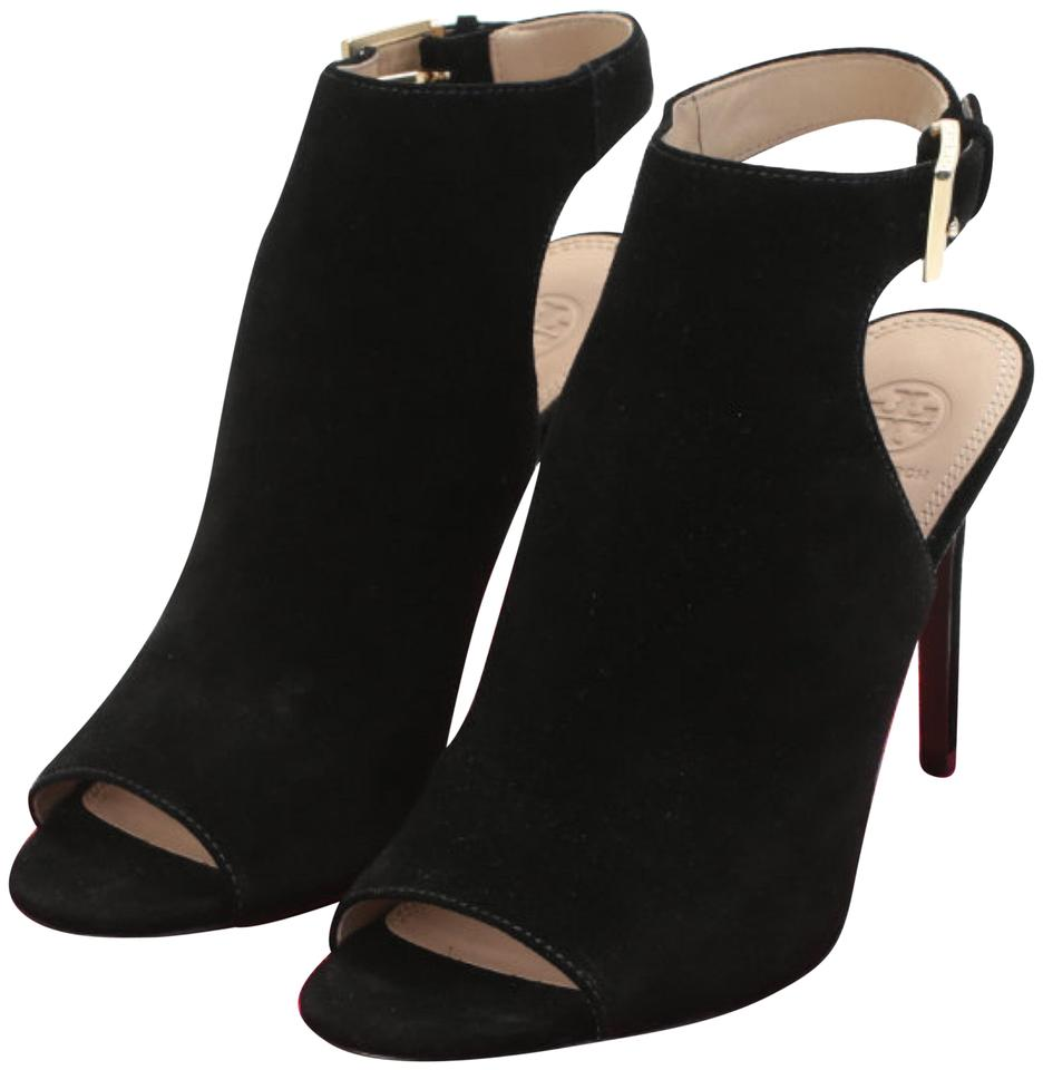 a69abf3f0 Tory Burch Black Britannia Suede Peep Toe Boots Booties Size US 10 ...