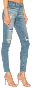 AG Adriano Goldschmied Mid Rise Ankle Denim Patches Destroyed Skinny Jeans