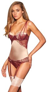 Frederick s of Hollywood Sexy Lingerie Lace Corset Corset Garter Set Satin  Corset Top red 721561601