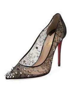 Christian Louboutin Lace Floral Chantilly Spiked Studded Black Pumps