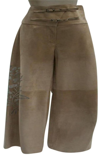 Item - Dark Beige Suede Leather Lined Sheer Cut Out Self Belt 4/6/8 S/M Pants Size 6 (S, 28)