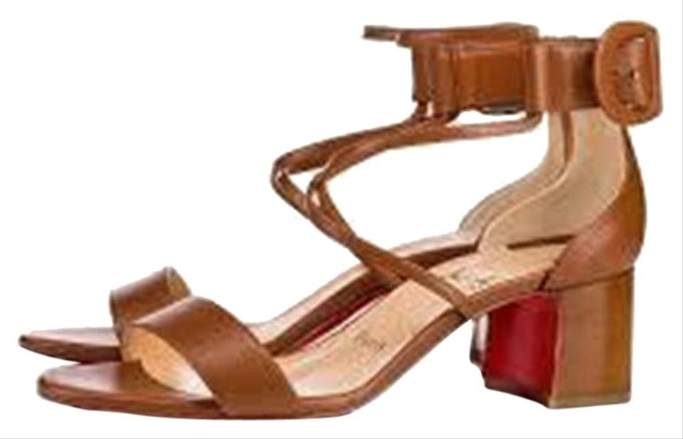 big sale eb6c3 c50c5 Christian Louboutin Brown Choca 55 Leather Block Sandals Size EU 36  (Approx. US 6) Regular (M, B) 27% off retail