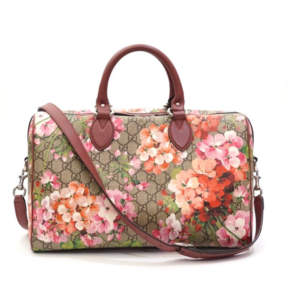 c480817960ab63 Gucci Boston Supreme Blooms Gg Floral Crossbody Pink Coated Canvas ...