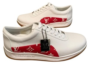 Louis Vuitton X Supreme Sneakers Limited Edition Red Monogram Athletic