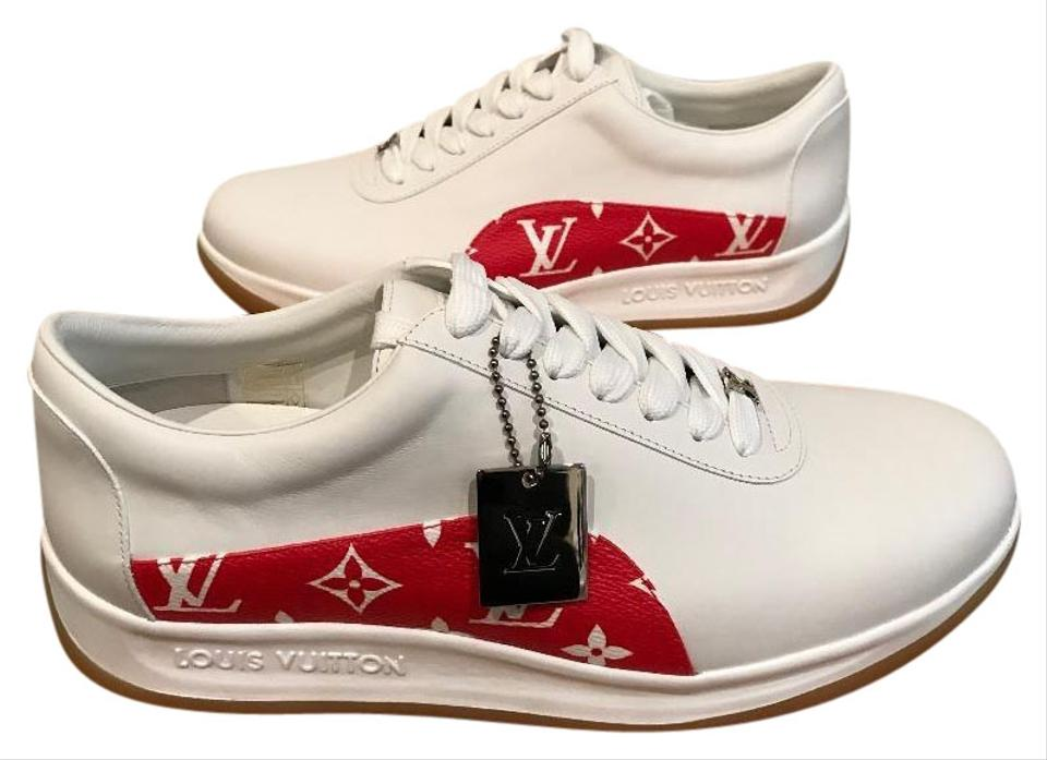2df5fef090aa Louis Vuitton x Supreme Sneakers Limited Edition Red Monogram Athletic  Image 0 ...