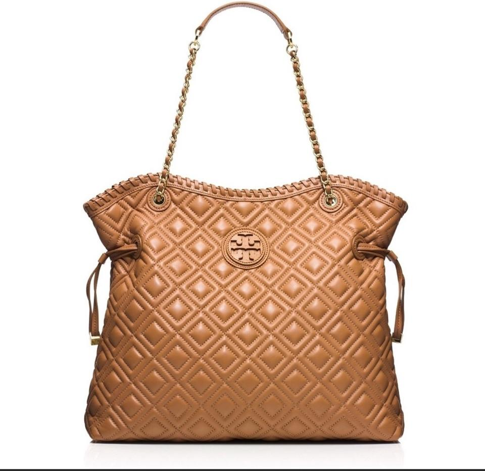 5520f13b05b Tory Burch Marion Quilted Slouchy Tote Tan (Tiger Eye) Leather ...