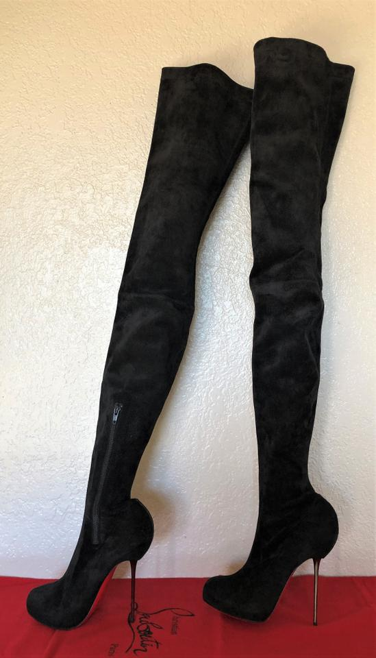 78e394a8c3 Christian Louboutin Black Big Lips 39.5it Suede Platform Over Knee Heel Red  Lady Thigh High Boots/Booties