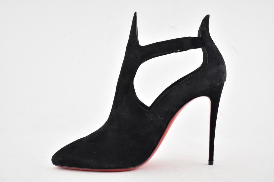 b0e01eb4bee Christian Louboutin Black Canadada 100 Suede Cut Out Ankle Strap Stiletto  Heel Ankle Pump Boots/Booties Size EU 35 (Approx. US 5) Regular (M, B)