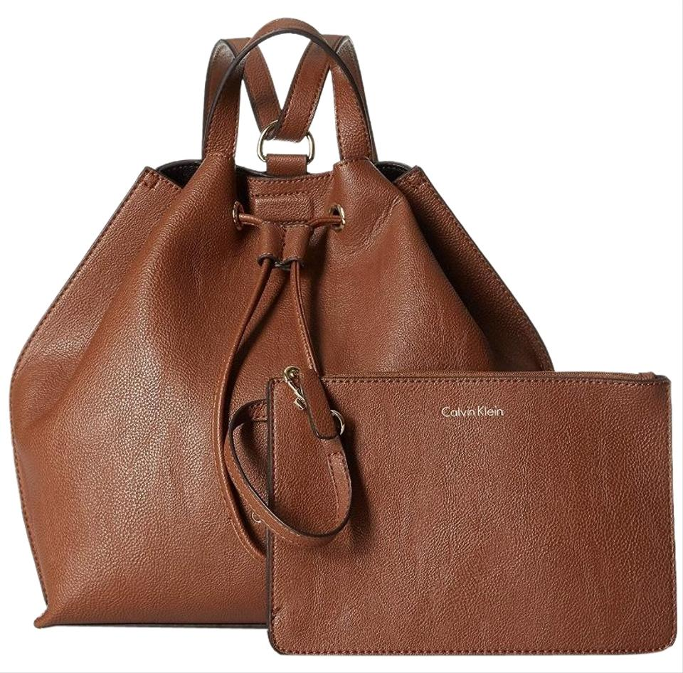 4e23a4285 Calvin Klein Drawstring Brown Faux Leather Backpack - Tradesy