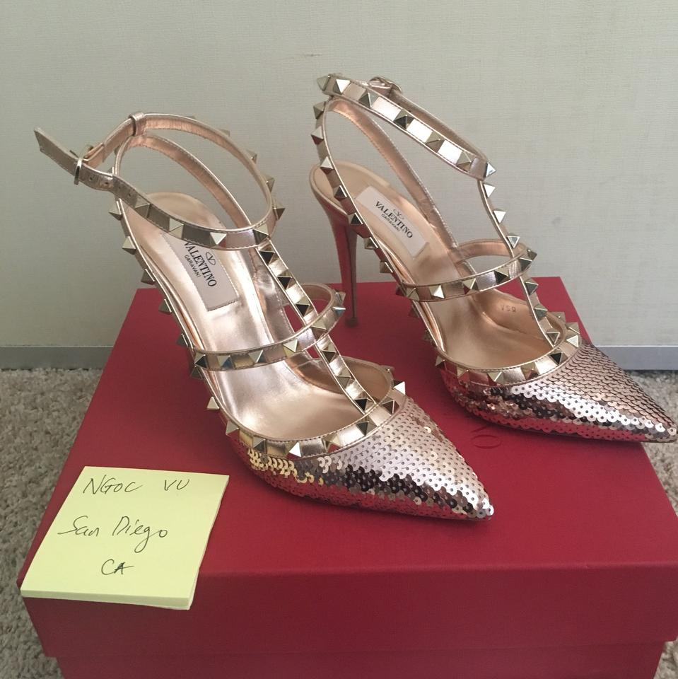 15bfa77204e7 Valentino Rockstud Sequin Metallic Leather Pumps Size EU 38 (Approx. US 8)  Regular (M