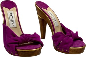 Jimmy Choo Platform Open Toe Chunky Peep Toe Suede Purple Mules