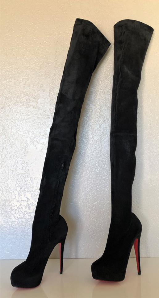 911ad9ceb540c Christian Louboutin Black Platform Thigh High Over Knee Tall Heel Lady Toe  Red Sole Suede Italy Boots Booties Size EU 37 (Approx. US 7) Regular (M