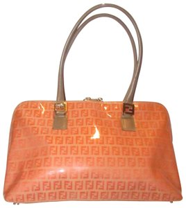 Fendi Rare Color Combo Mint Vintage Wallet Available Le Rich Oranges/Taupe Satchel in dark/light orange small F logo print coated canvas and taupe leather