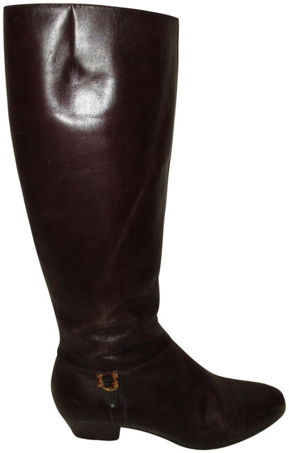 Item - Dark Brown Leather with Gold Tone Boots/Booties Size US 4 Regular (M, B)