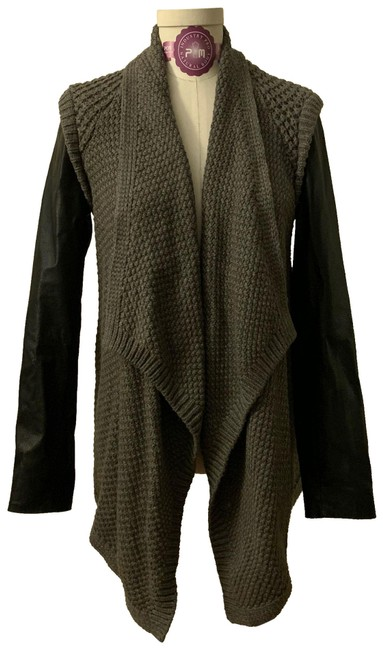 Item - Black and Olive Knit Wrap Sweater Jacket Size 4 (S)