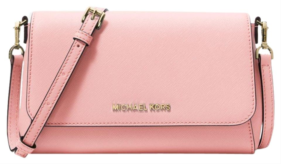dbc4dfee6c18 Michael Kors Jet Set Medium Convertible Pouchette Pink Pvc Leather Cross  Body Bag