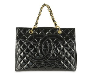Chanel Quilted Patent Leather Gst Grand Shopping Tote in Black