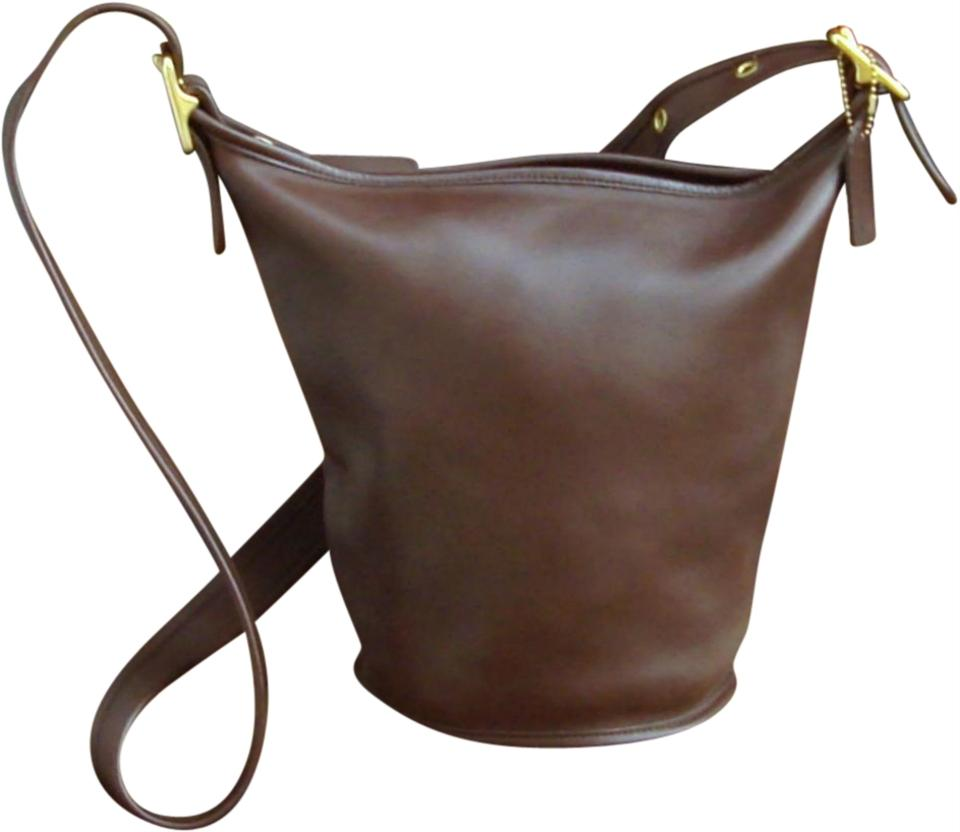 9f43facfcba6 Coach Vintage Helens Legacy Bucket Brown Leather Cross Body Bag ...